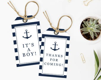 Baby Shower Favor Tags for Boy Printable Baby Shower Thank You Tags Instant Download Labels for Baby Shower Favor It's a Boy Baby Shower NS1