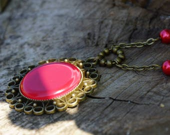 Deep red cabochon necklace