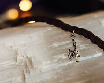 VIKING themed braided faux suede bracelet