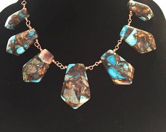 Turquoise & Bronzite necklace