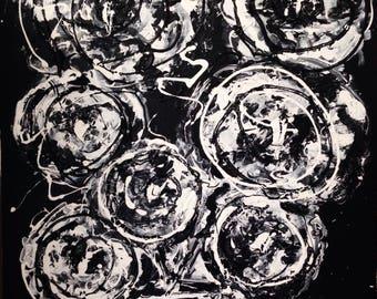 Fleurs de Nuit acrylic finger painting