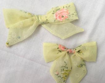 Vintage Flocked Yellow Rose Bow