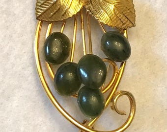 Vintage Faux Jade and Gold Tone Brooch with Leaves
