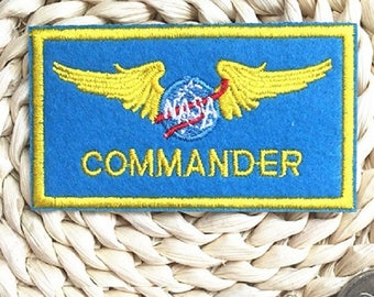 NASA Commander Embroidered Iron On Patch, Nasa patch