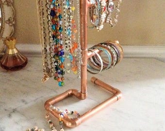 Copper industrial/minimalist jewelry stand