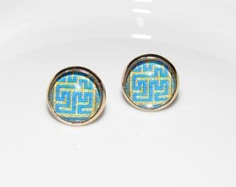 African Earrings _ Stud Earrings _ African Stud Earrings _ Ankara Print Earrings _ African Earrings Gold _ African Print Earrings