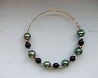 Black and green czech bead bracelet