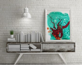 Red Abstract Serial 3, Contemporary Art