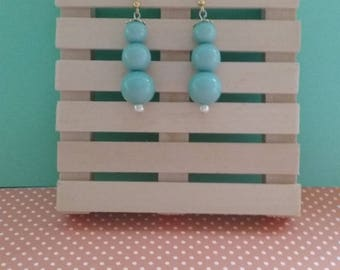 Handcrafted, Teal Dangle Earrings w/ Gold Accents