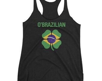 Brazilian Irish Clover St Patricks Day Women's Racerback Tank Top