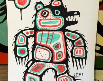 Bear painting, watercolour, 7x9