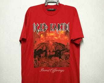 Vintage 90s 1995 ICED EARTH Burnt Offerings Album Heavy Metal T-shirt