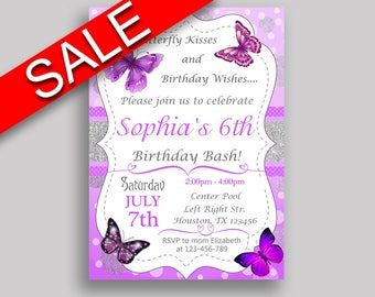 Butterfly Birthday Invitation Butterfly Birthday Party Invitation Butterfly Birthday Party Butterfly Invitation Girl butterflies OHI62