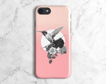 Black Roses & Hummingbird Pink Pattern Phone Case for iPhone 6 / 6S / 6 Plus, iPhone 7, iPhone 7 Plus, Samsung Galaxy S8 | DLC128