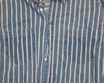 Vintage Levi's Long Sleeve Men's Size L Blue and White Stripes Levi Strauss