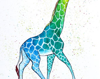 Colorful Watercolor Print - Giraffe