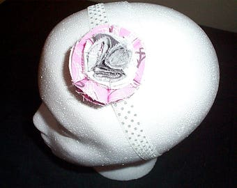 Pink and Grey  Polka Dot Headband