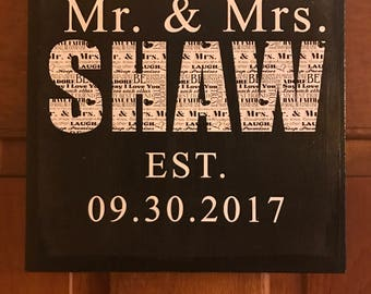 8x8 Mr. & Mrs. Canvas Sign