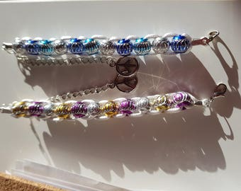 Bracelet silver and blue opaque beads