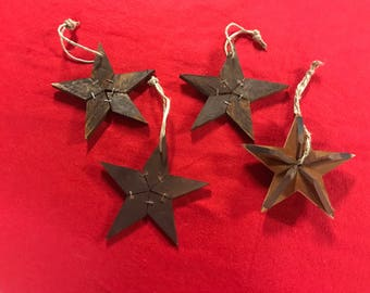 Set of 4 Rustic Star Christmas Ornaments