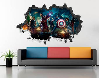 Avengers 2 Age of Ultron Marvel Characters Wall 3D Decal Sticker Art Decor Vinyl Smashed AH07