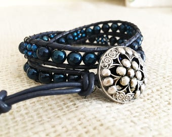 Blue glass and crystal bead Leather Wrap Bracelet