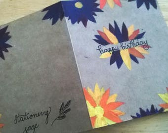 Handmade Floral Birthday Card with Purple and Yellow Flowers