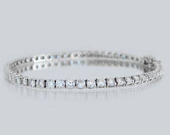 5.5 Carat Diamond Tennis Bracelet in solid 18k White gold, Anniversary Gift
