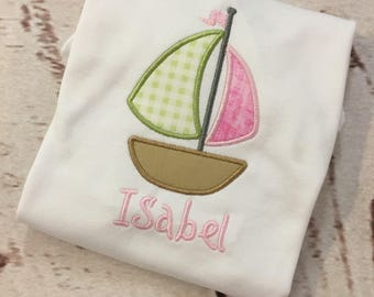 Infant Girls Applique Sailboat short or long sleeve onesie with name FREE SHIPPING