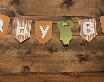 Baby Boy/ Baby Shower/ Baby Boy Banner/ Rustic Baby Shower/ Onsie Banner/ Boy Baby Shower/ Boy Banner