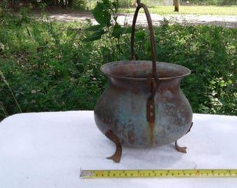 Antique vintage copper kettle pot