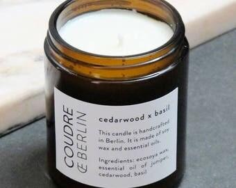 Cedarwood x Basil soy wax scented candle