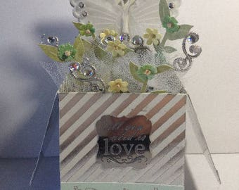 Pop Up Box Card - All You Need Is Love - Metal Plaque with Message - Dragonflies