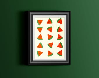 Summer Melon Printable - Art Print, Home Decor, Modern Wall Art, Apartment Poster
