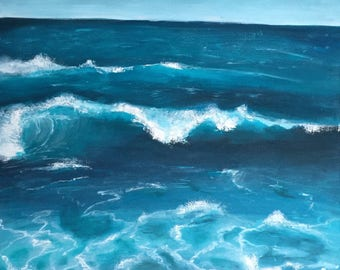 Large Acrylic Ocean Painting