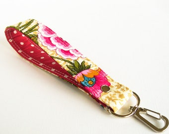 Fabric Key Chain, Flower Key Fob, Key Ring, Wrist Strap, Wrist Lanyard, Red Floral Key Holder, Short Lanyard Strap, Gift For Her