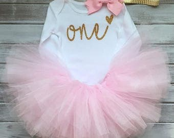 1st Birthday Girl Long Sleeve Tutu