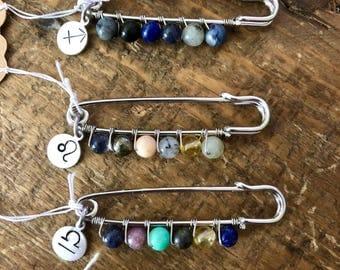 Zodiac Healing Stone Pins
