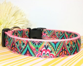 "Funky Colorful Bohemian 1"" Wide Dog Collar Handmade"