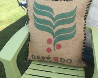 Burlap coffee sack decor pillow