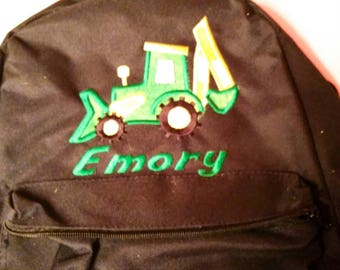 Embroidered Backpack - Boys Backpack - Back To School - Tractor Backpack - Personalized Backpack - Customized Backpack - Tractor Gift