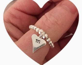 Hand stamped heart ring