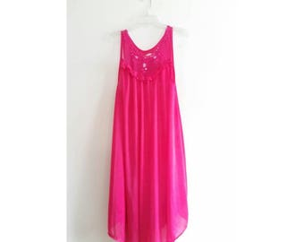 Vintage Aimili Hot Pink Sheer Sequin Embroidered Lace Trim Valentines Day Long Silky Dress Lingerie Sz XL Plus Size