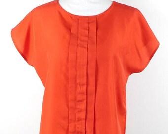 30% SPRING SALE Vintage 1980s 80s Lucky Winner Bright Red Pleated Front Crewneck Minimal Short Sleeve Top Blouse Shirt Sz Medium