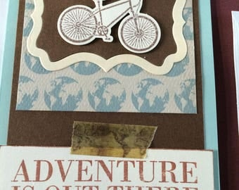 Bicycle theme card, adventurer, travel, explore, card for him or her, any occasion, birthday, multi-layered, die cut elements,
