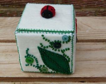 Hand sewn felt ladybird decorated trinket/storage box