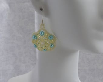 Pearl and Crystal Earrings: Teal