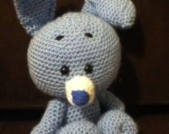 Handmade blue rabbit crochet
