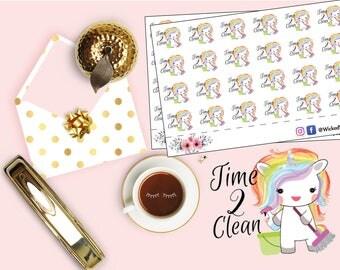 Time To Clean Planner Stickers,  Chore Sticker, Cute Unicorn Sticker, Mini Happy Planner Sticker, Cleaning Sticker