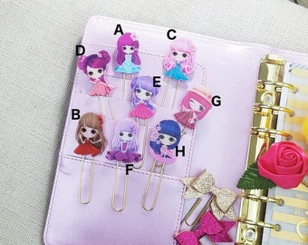 Cute Kawaii Anime Girls Planner Paper Clips, TN Resin Charms, Anime Girl Paperclip, Planner Stationary Accessory